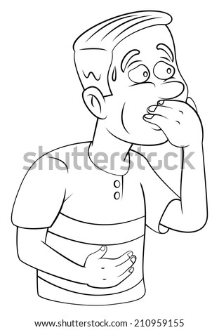 man resist vomiting - stock vector