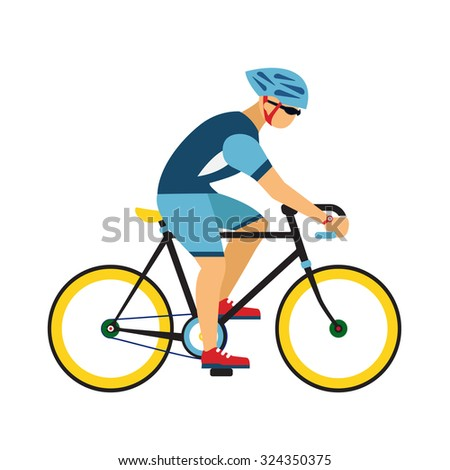 Man ride by road bicycle. Cycling sport flat illustration. - stock vector