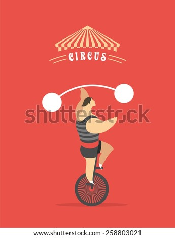 man rides a bicycle circus shows his strength holding the post - stock vector
