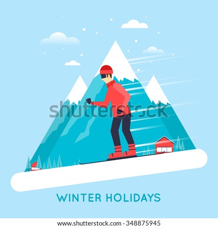 Man rides from mountain on a snowboard. Flat style vector illustration - stock vector