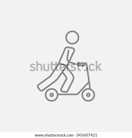 Man riding a kick scooter line icon for web, mobile and infographics. Vector dark grey icon isolated on light grey background. - stock vector