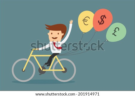 man riding bicycle with balloon money sign concept of financial freedom