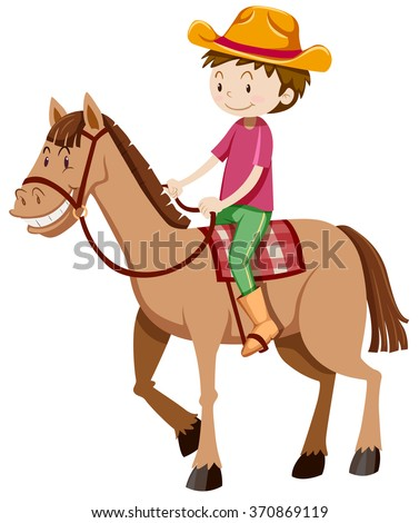 Man riding horse alone illustration - stock vector