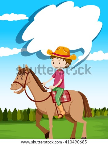 Man riding horse in the field illustration