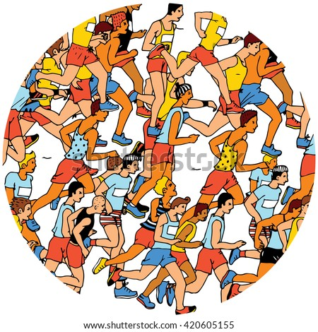 Man Runners collage in the circle. - stock vector
