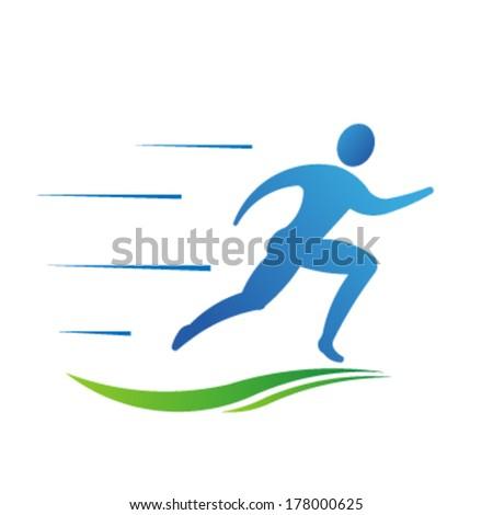 Man running fast. Sport fitness Vector - stock vector