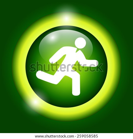 man running icon on green background vector - stock vector