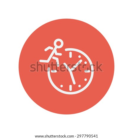 Man running on time thin line icon for web and mobile minimalistic flat design. Vector white icon inside the red circle. - stock vector