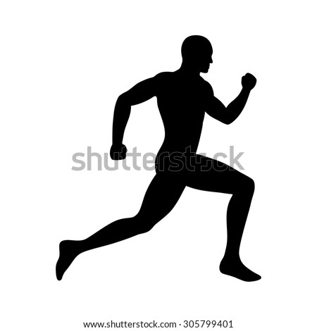Man running / sprinting silhouette flat icon for exercise apps and websites - stock vector
