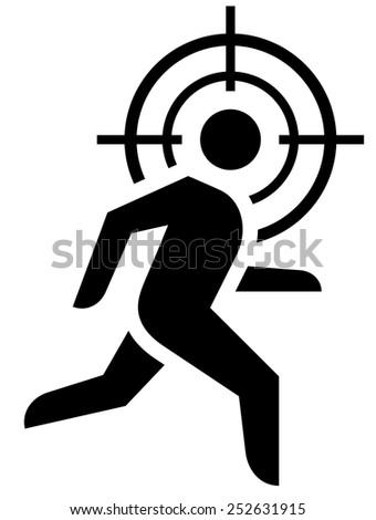 Man running under crosshair icon - stock vector