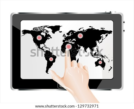 Man's finger pointing on the touch screen tablet PC with world map