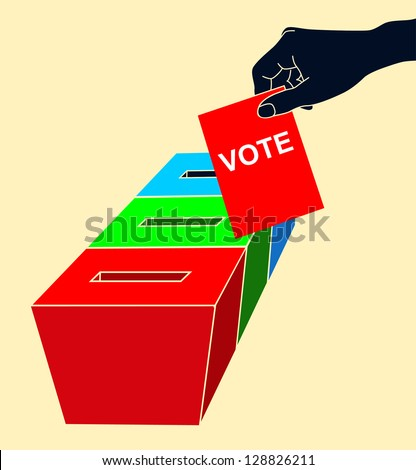 Man's hand down the ballot in the ballot box. Isolated on white - stock vector