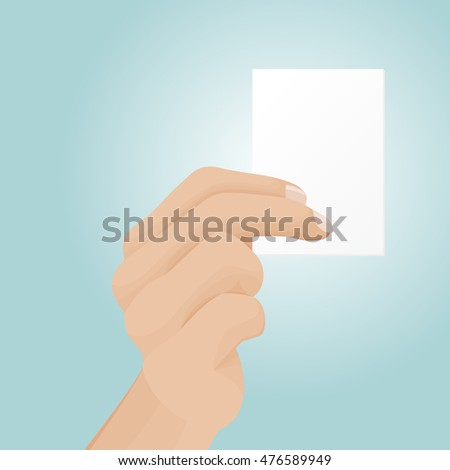 Man's hand hold a blank visiting card