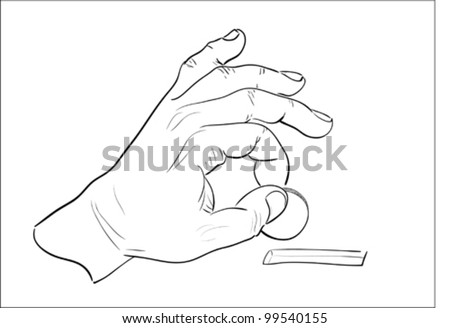 Man's hand putting coin into moneybox. Sketch. - stock vector