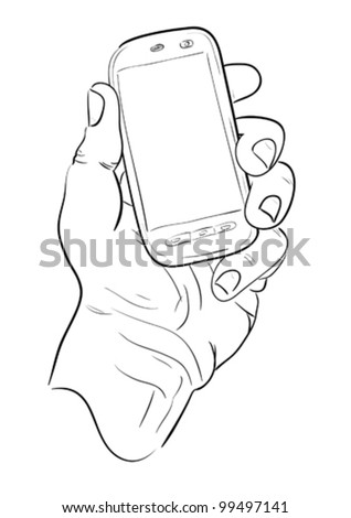 Man's hand with mobile telephone. Sketch. - stock vector