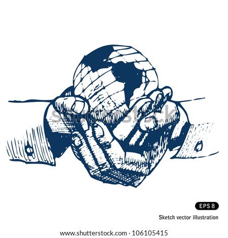 Man's hands holding the earth globe. Hand drawn sketch illustration isolated on white background - stock vector