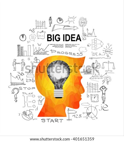 Man's head with a glowing light bulb and doodle sketches infographic icons.  The concept of making big idea. Geometric Triangular. - stock vector