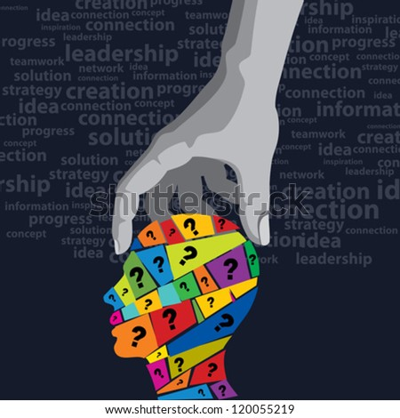 man's question in a hand, solution concept - stock vector
