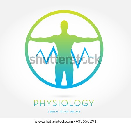 MAN'S SILHOUETTE WITH OPEN ARMS , INCORPORATED WITH A HEARTBEAT , INSIDE A CIRCLE, VECTOR ICON / LOGO , BLUE GREEN AND LIME COLORS , ON WHITE BACKGROUND  - stock vector