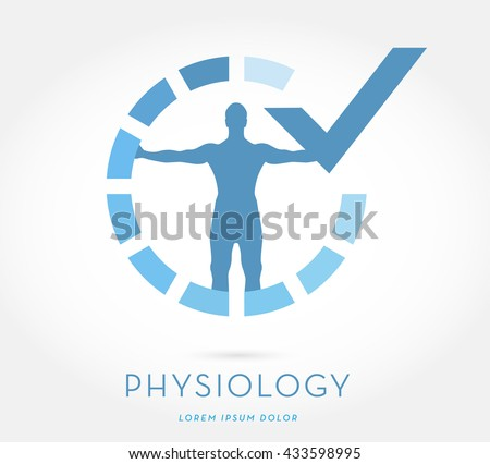 MAN'S SILHOUETTE WITH OPEN ARMS , INSIDE AN INTERMITTENT CIRCLE WITH GRADIENT COLOR SYMBOLIZING PROGRESS , INCORPORATED WITH A CHECK MARK , VECTOR LOGO / ICON  - stock vector