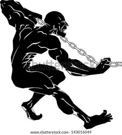 man's struggling pulling a chain - stock vector