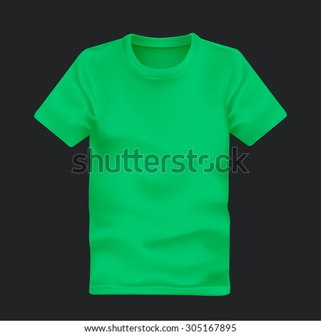 man's t-shirt in green isolated on black background - stock vector