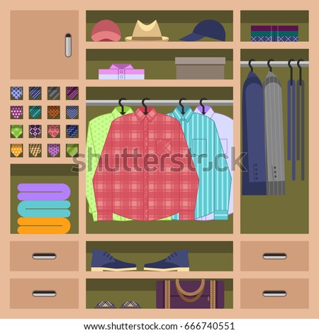 Mans Wardrobe Inside With Everyday Clothes Hanging On Hangrails Closet Filled Shirts