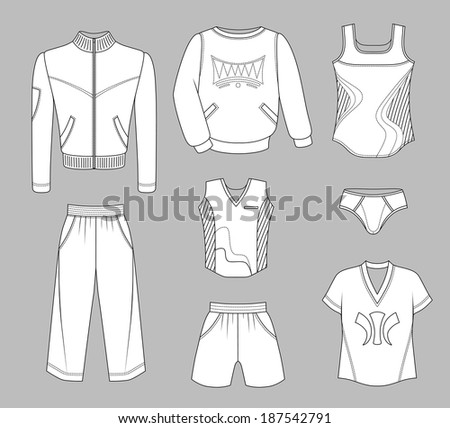Man set tricot clothes grey isolated on background. EPS8 - stock vector