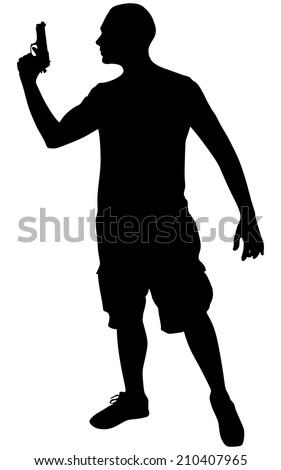 man shooting gun, vector - stock vector