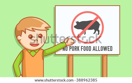 man showing banner no pork food - stock vector