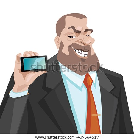 Man shows a mobile phone