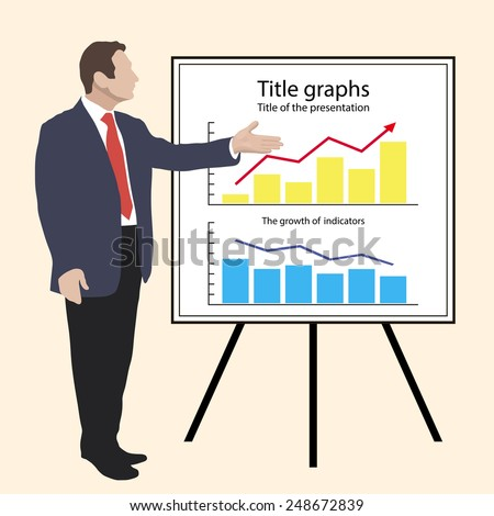 Man shows graphics on the flip chart. Suitable for infographics. Manager, Director, Speaker, dealer, infographics, orator, charts, annual report. infograph, Vector. Icon. - stock vector