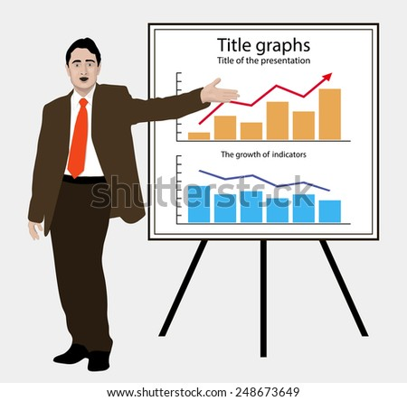 Man shows graphics on the flip chart. Suitable for infographics. Manager, Director, Speaker, dealer, businessman, lecturer, leader,  infographic, charts, annual report. Vector. Icon. - stock vector