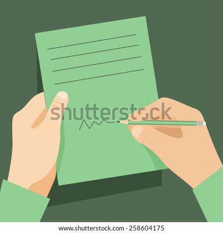 Man signs document  handle puts his signature cartoon flat design style. Vector design template - stock vector