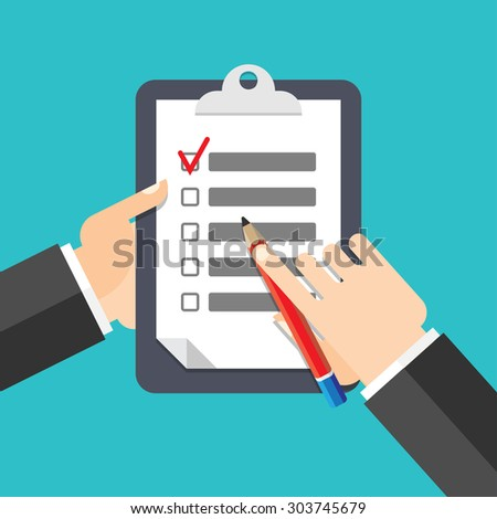 Man signs document stamped handle puts his signature cartoon flat design style - stock vector