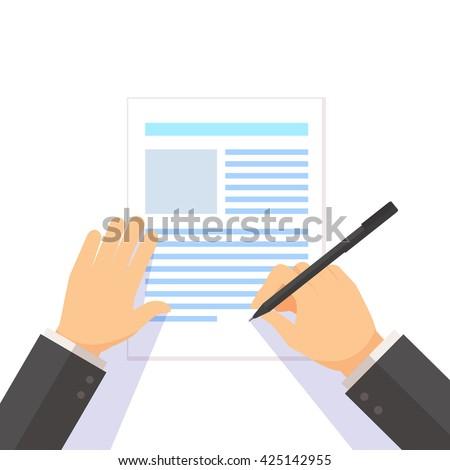Man signs document stamped handle puts his signature cartoon flat design style,document,pen,hand,men,paper - stock vector