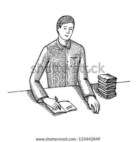 Man signs documents - stock vector