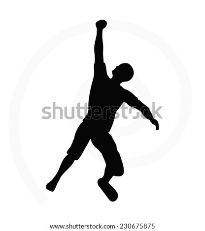 man silhouette isolated on white background - in hanging pose - stock vector