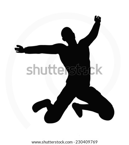 man silhouette isolated on white background  -  with arms open