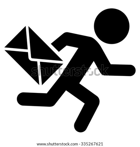 Man Silhouette Mail Courier vector icon. Style is flat symbol, black color, rounded angles, white background. - stock vector