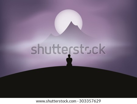 man silhouette meditating in nature - stock vector