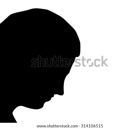 Man silhouette on the white background