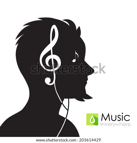 Man silhouette picture. Music. Vector illustration - stock vector