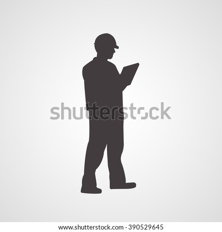 Man silhouette standing sideway in helmet and with clipboard in his hands vector icon - stock vector