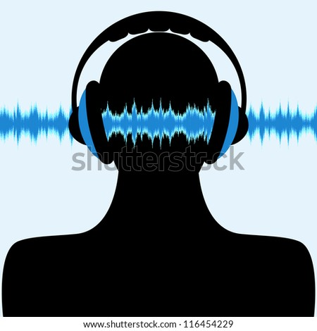 man silhouette with headphone and sound waves - stock vector