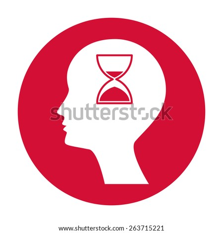 Man silhouette with hourglass - stock vector