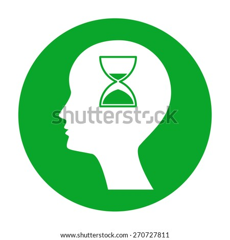 Man silhouette with hourglass. - stock vector