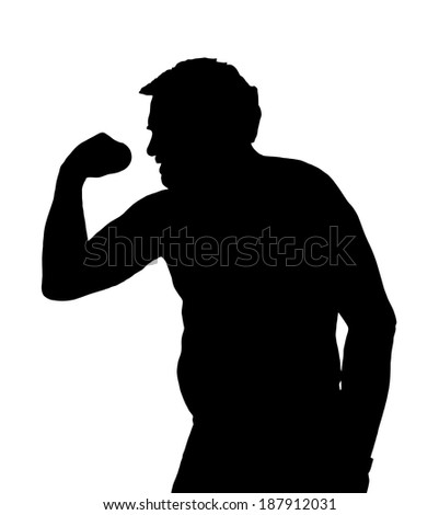 Man Silhouette with Potbelly Exercising with a Dumbbell