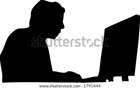 Man silhouette working at a computer - stock vector