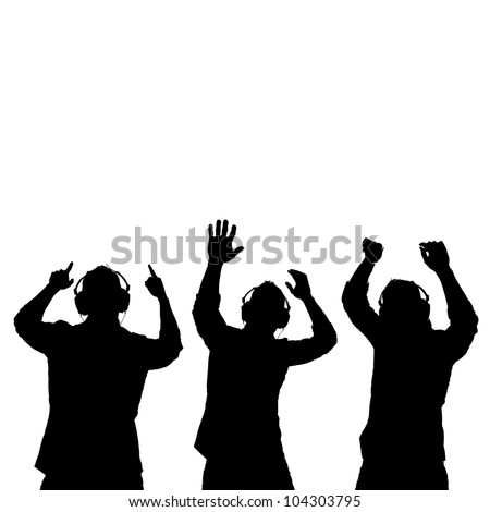 Man silhouettes with ear-phones listening to music against white background. - stock vector